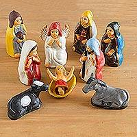Ceramic nativity scene The Kings Visit 10 pieces Peru