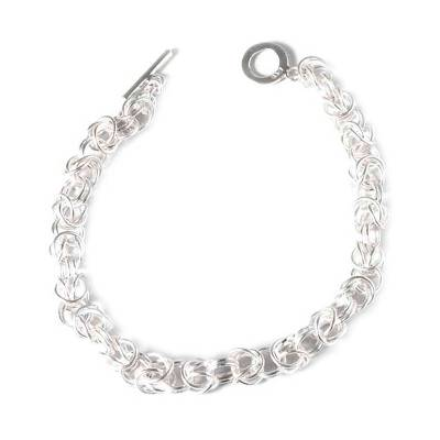 Handcrafted Fine Silver Braided Chain Link Wristband Bracelet