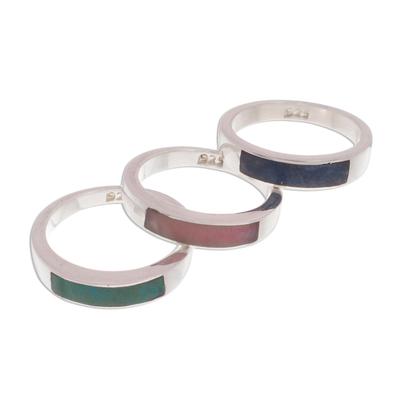 Unique Fine Silver Multi-Stone Sodalite Rose Quartz Ring