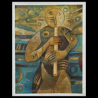 'Winds of Peace' - Flute Song Peru Fine Art Original Oil Painting