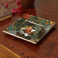 Reverse painted glass tray, 'Field of Roses' - Hand Crafted Reverse Painted Glass Wood Plate Centerpiece