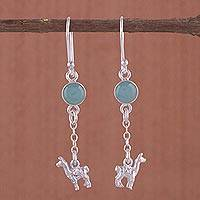 Opal dangle earrings, 'Llama Light' - Artisan Opal and Sterling Silver Dangle Llama Earrings