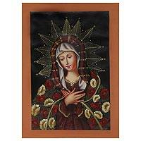'Our Lady of the Immaculate Conception' - Oil on Canvas Painting from Peru