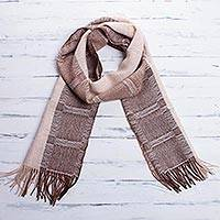 Men's 100% alpaca scarf, 'Nazca Warmth' - Hand Crafted Men's Alpaca Wool Patterned Scarf
