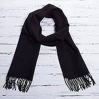 Men's 100% alpaca scarf, 'Cuzco Night' - Fair Trade Men's Wools Scarf from the Andes