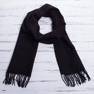 Men's 100% alpaca scarf, 'Cuzco Night' - Men's Alpaca Wool Black Scarf from Peru