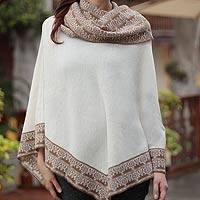 100% alpaca poncho, 'Huarascaran Muse' - 100% Alpaca Poncho with Draped Cowl Collar