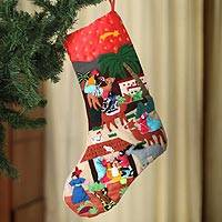 Applique Christmas stocking, 'The Three Kings' - Applique Christmas stocking