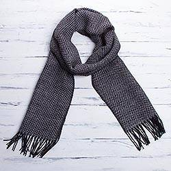 Men's 100% alpaca scarf, 'Huascaran Night'