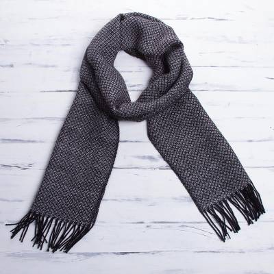 Men's 100% alpaca scarf, 'Huascaran Night' - Men's 100% alpaca scarf