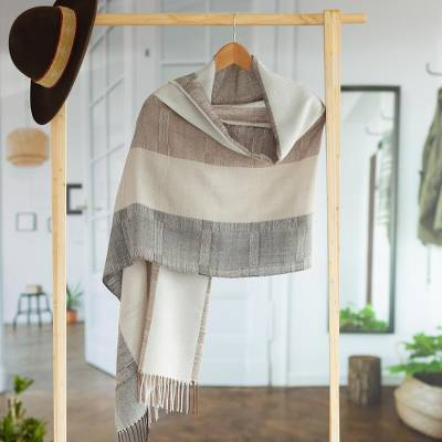 100% alpaca shawl, 'Quiet Atacama' - Unique Fine Alpaca Wool Neutral Color Shawl