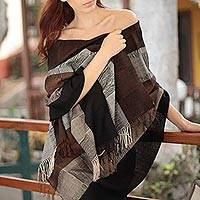 100% alpaca shawl, 'Andean Cocoa' - Pure Alpaca Wool Woman's Shawl from the Andes