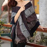 100% alpaca shawl, 'Nazca Night' - Alpaca Wool Hand Woven Shawl