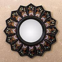Mirror, 'Black Sunflower Fan' - Peruvian Reverse Painted Glass Black Mirror