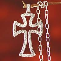 Silver cross necklace, 'Faith Shines'