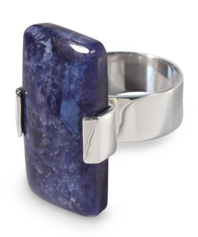 Unique Modern Sterling Silver Sodalite Cocktail Ring