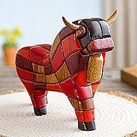 Wood sculpture, 'Lucky Bull from Pucara' (small) - Wood Sculpture Statuette Hand Carved in Peru