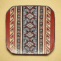 Cuzco decorative ceramic plate, 'Inca Universe' - Cuzco decorative ceramic plate