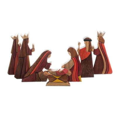 Wood nativity scene, 'Gifts for Baby Jesus' (set of 8) - Wood Nativity Scene Set of 8 Pcs Handmade Peru
