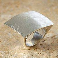 Silver cocktail ring, 'Inca Pyramid'