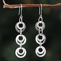 Silver dangle earrings, 'Andean Rainfall'