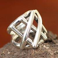 Silver cocktail ring, 'Glimpse of Light' (Peru)