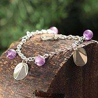 Amethyst charm bracelet,