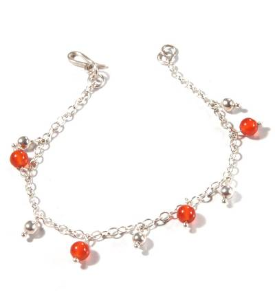 Carnelian charm bracelet