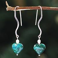 Chrysocolla and pearl heart earrings, 'Love's Wisdom' - Chrysocolla and pearl heart earrings