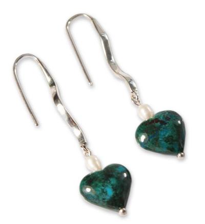 Chrysocolla and pearl heart earrings