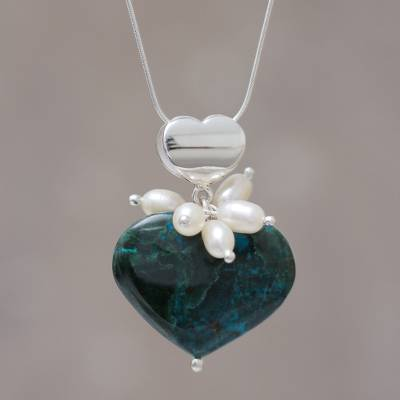 Chrysocolla and pearl heart necklace, 'Love's Wisdom' - Chrysocolla and pearl heart necklace