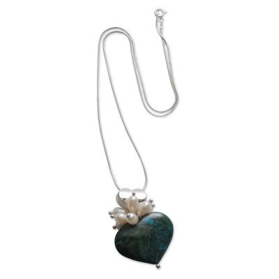 Chrysocolla and pearl heart necklace