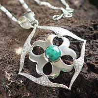 Chrysocolla necklace, 'Shield of Peace' - Chrysocolla necklace