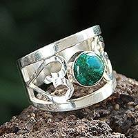 Chrysocolla cocktail ring, 'Inseparable Love' - Unique Heart Shaped Sterling Silver Band Chrysocolla Ring