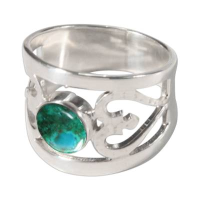 Unique Heart Shaped Sterling Silver Band Chrysocolla Ring
