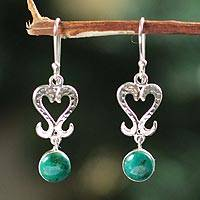 Chrysocolla heart earrings, 'Cuzco Wisdom' - Chrysocolla heart earrings