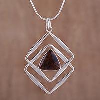 Mahogany obsidian pendant necklace,