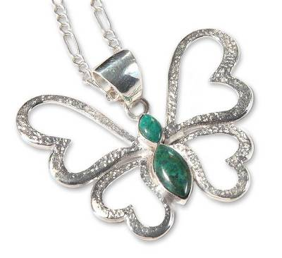 Heart Shaped Silver Chrysocolla Butterfly Pendant Necklace