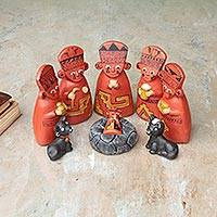 Ceramic nativity scene, 'Born Cuchimilco' (set of 9) - Ceramic nativity scene (Set of 9)