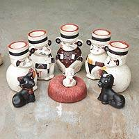 Ceramic nativity scene, 'Born to Chancay' (set of 9) - Ceramic nativity scene (Set of 9)