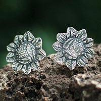 Silver flower earrings, 'Sunflowers' - Floral Fine Silver Button Earrings