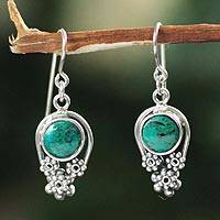 Chrysocolla flower earrings, 'Daisy Fields' - Chrysocolla flower earrings