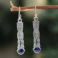 Sodalite dangle earrings, 'Inca Warrior' - Sodalite dangle earrings