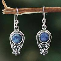 Sodalite flower earrings, 'Daisy Skies' - Hand Crafted Fine Silver and Sodalite Earrings