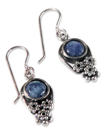 Hand Crafted Fine Silver and Sodalite Earrings