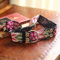 Wool belt, 'Festive Huanta' - Floral Wool Embroidered Natural Belt
