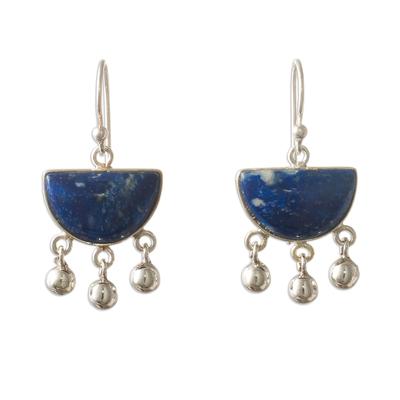 Sterling Silver Dangle Lapis Lazuli Earrings
