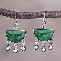 Chrysocolla dangle earrings, 'Beautiful Universe' - Hand Made Sterling Silver Chrysocolla Dangle Earrings