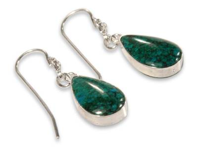 Hand Made Sterling Silver and Chrysocolla Dangle Earrings
