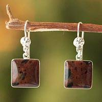 Mahogany obsidian dangle earrings, 'Inca Mystique' - Mahogany obsidian dangle earrings